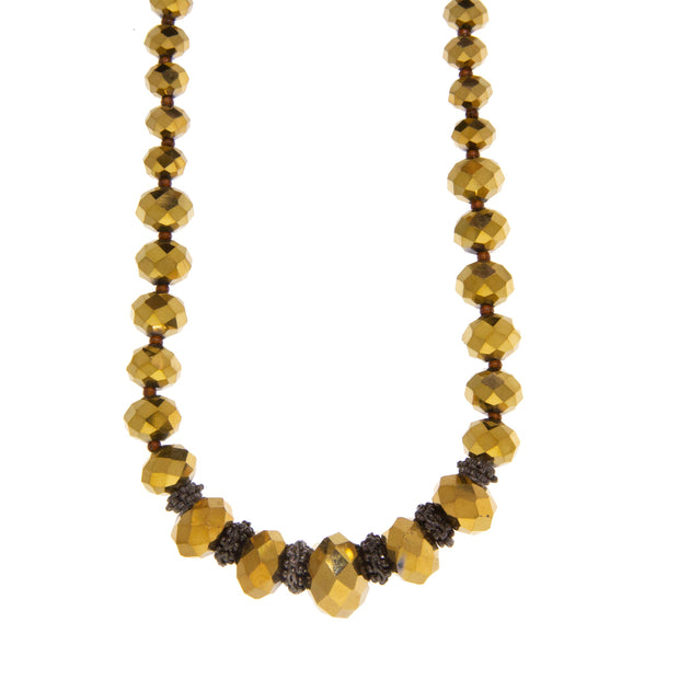 Black Tond Graduated Gold Bead Strandage Necklace 16 In Adj