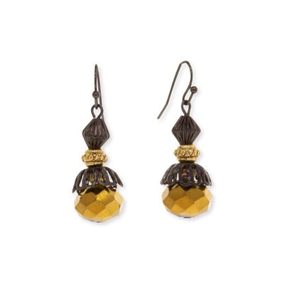 Black Tone Gold Bead  Drop Wire Earring