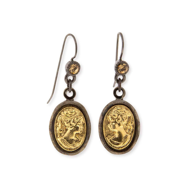 Black Tone Gold Cameo Drop Earring