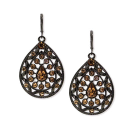 1928 Jewelry Black Tone  Lt Colorado Teardrop Wire Earrings