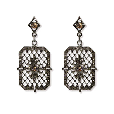 Black Tone Octagon Filigree Drop Earrings