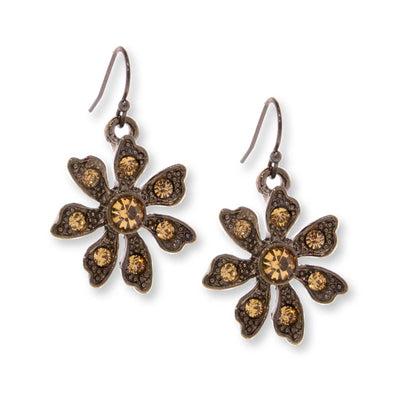 Black Tone Flower Drop Earring