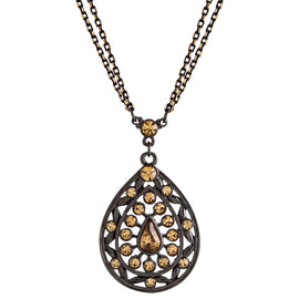 Black Tone Lt Colorado Teardrop Necklace 16 In Adj
