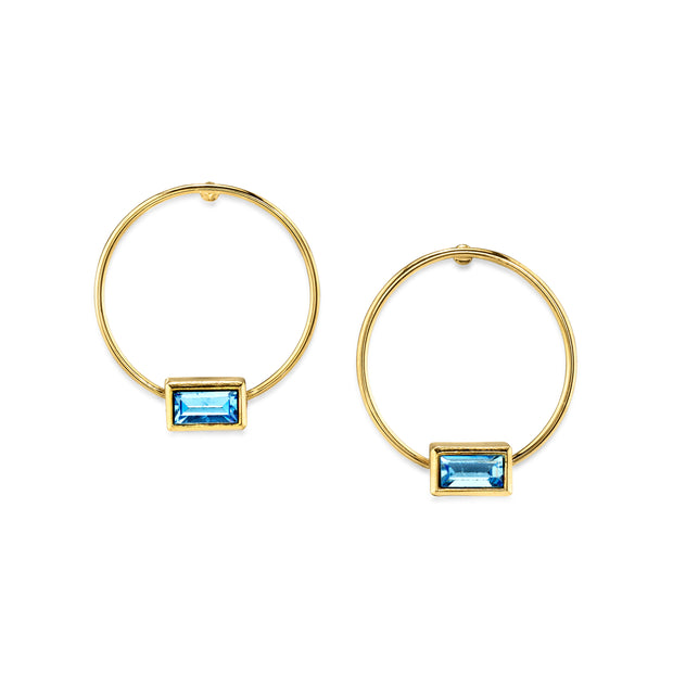 14K Gold Dipped Rectangle Crystal Hoop Stainless Steel Post Earring Pink