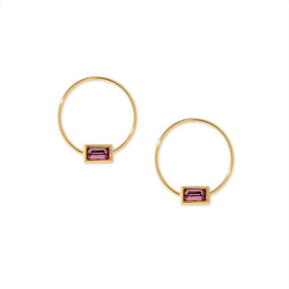 14K Gold Dipped Minimalist Rectangle Pink Crystal Hoop Earring