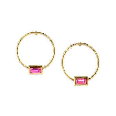 14K Gold Dipped Rectangle Crystal Hoop Stainless Steel Post Earring Black