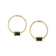 14K Gold Dipped Rectangle Crystal Hoop Post Earring Green