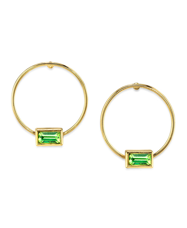 14K Gold Dipped Minimalist Rectangle Crystal Hoop Earrings