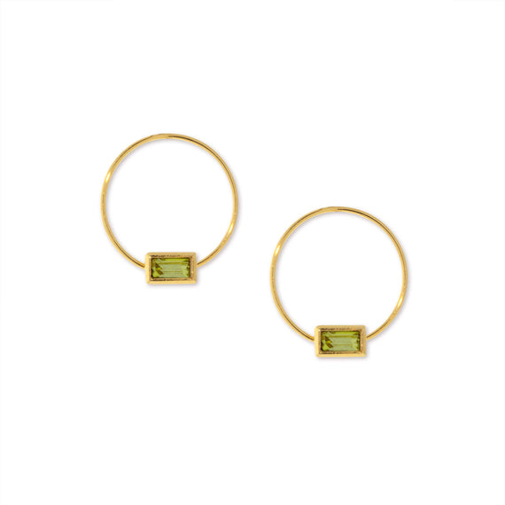 14K Gold Dipped Minimalist Rectangle Lt Green Crystal Hoop Earring