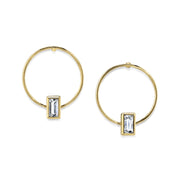 14K Gold Dipped Rectangle Crystal Hoop Post Earring Crystal Clear