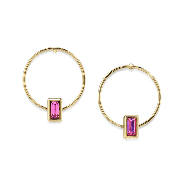 14K Gold Dipped Rectangle Crystal Hoop Post Earring Pink