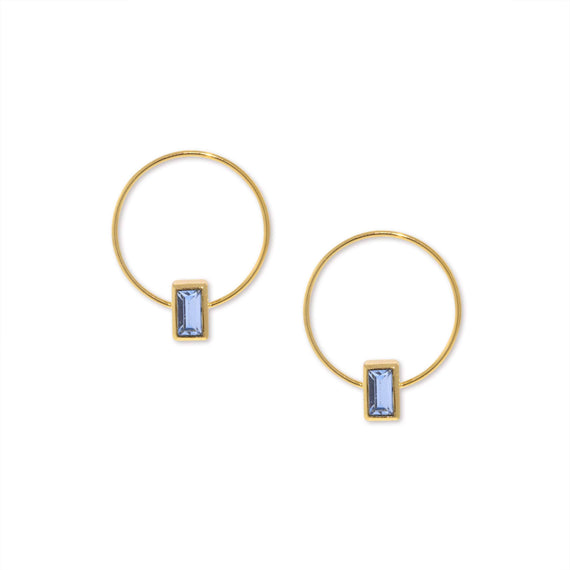 14K Gold Dipped Minimalist Rectangle Blue Crystal Hoop Earrings