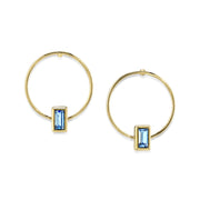 14K Gold Dipped Rectangle Crystal Hoop Post Earring Light Blue