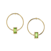 14K Gold Dipped Rectangle Crystal Hoop Post Earring Light Green