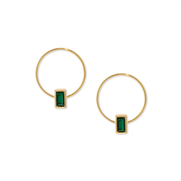14K Gold Dipped Rectangle Crystal Hoop Post Earring Dark Green