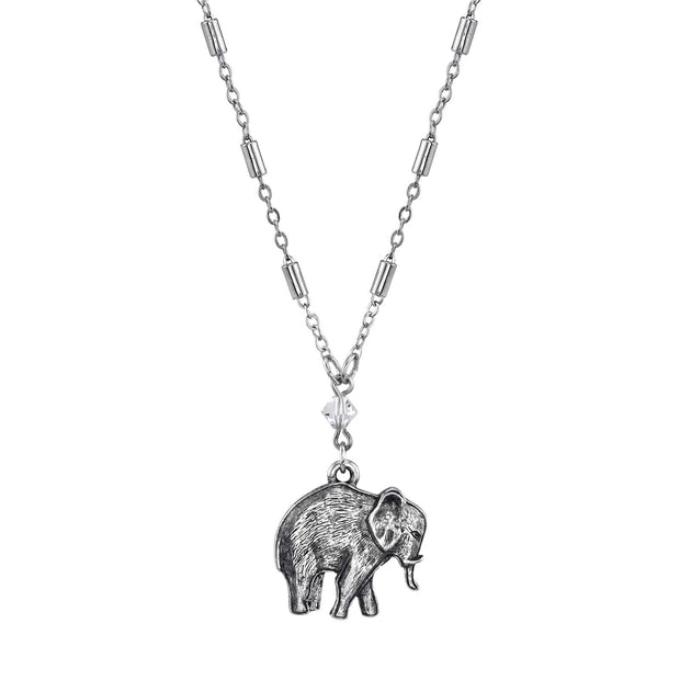 Pewter Elephant Drop Chain Necklace 16 - 19 Inch Adjustable