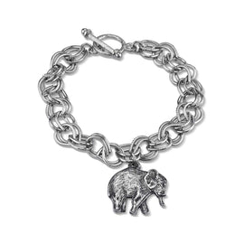 Pewter Elephant Charm Toggle Bracelet