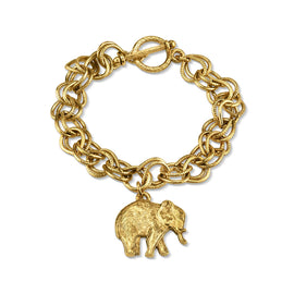 14K Gold Dipped Elephant Charm Toggle Bracelet