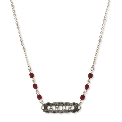 Pewter Beaded Amor Necklace 16 - 19 Inch Adjustable