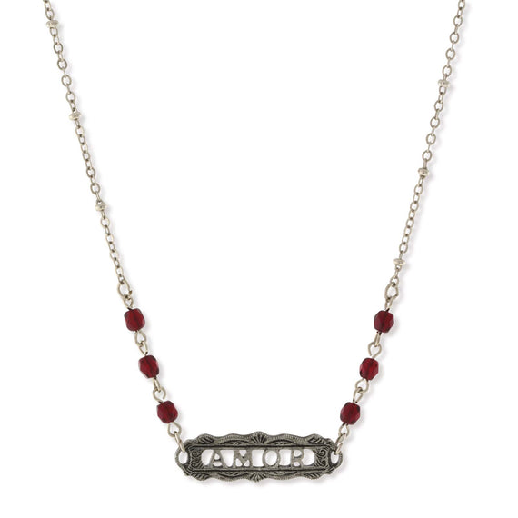 Pewter Red Beaded  Amor  Necklace 16  Adj.