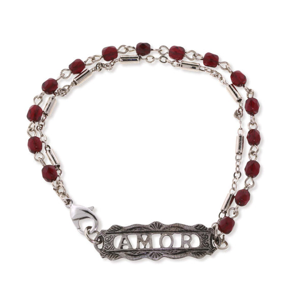 Pewter Amor Red Beaded Chain Bracelet