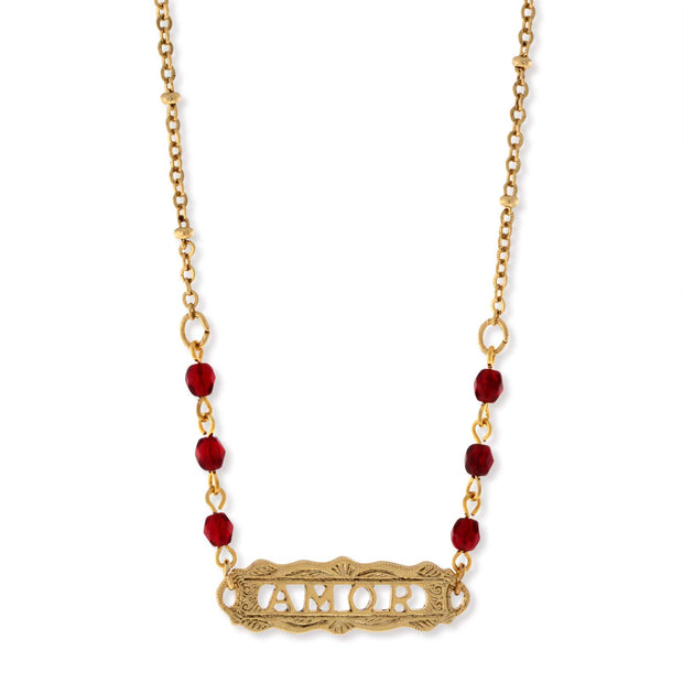 Gold Tone Red Beaded  Amor  Necklace 16  Adj.