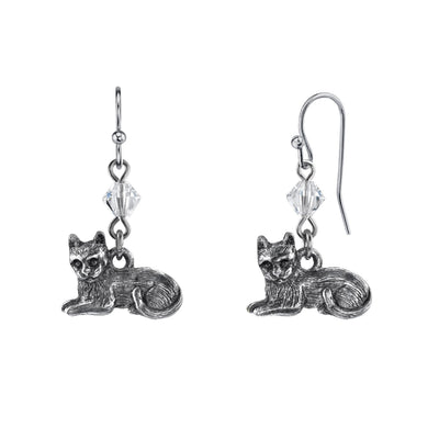 1928 Jewelry Pewter Cat & Swarovski Crystal Element Bead Wire Earrings