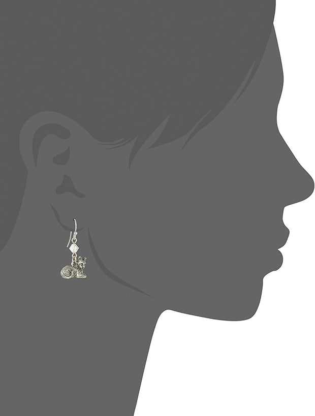 Pewter Cat & Swarovski Crystal Element Bead Wire Earrings Silhouette