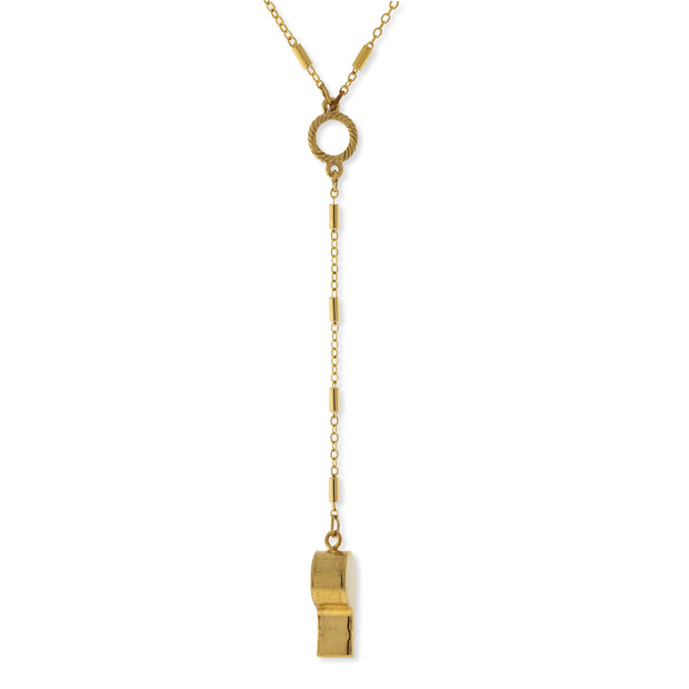 Gold Tone Whistle Y Necklace 18