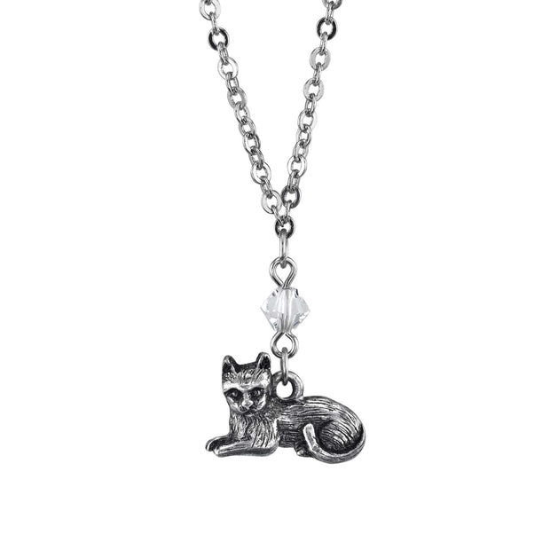 Pewter Cat Drop Necklace 16 - 19 Inch Adjustable