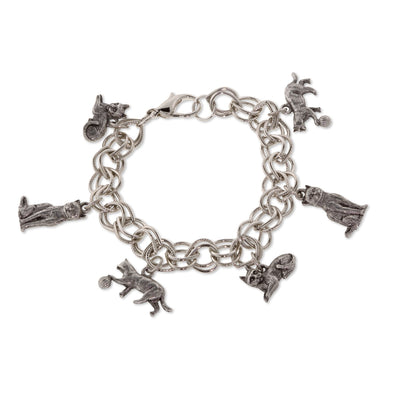 1928 Jewelry Pewter 6 Cat Charm Bracelet