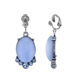 Pewter Tone Lt. Blue Moonstone and Crystal Accent  Clip Oval Drop Earrings
