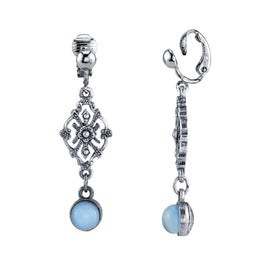 Pewter Tone Lt. Blue Moonstone Filigree Clip Earrings
