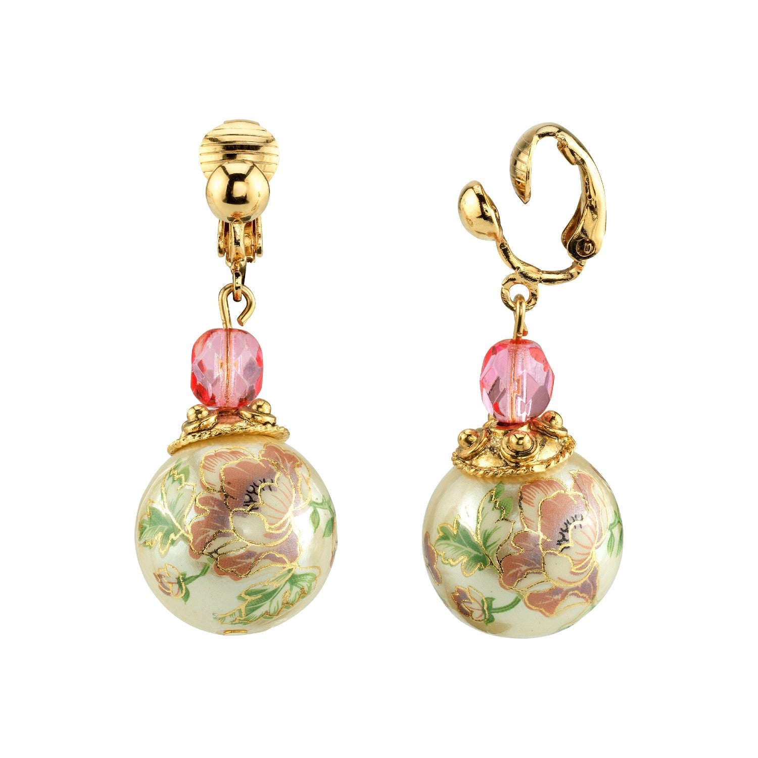 Gold Tone Flower Decal Pearl with Pink crystal Drop Earring