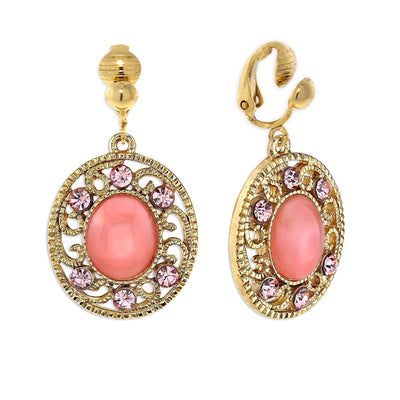 Gold Tone Pink Moonstone With Light Pink Crystal Drop Clip Earrings