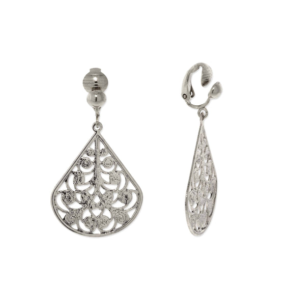 Silver Tone Filigree Pearshaped  Clip Earrings