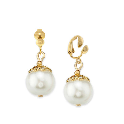 Gold-Tone  Costume Pearl Clip On Drop Earrings