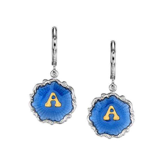 1928Jewlery Silver Tone Blue Enamel Gold Tone Initial Earrings