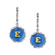 Silver Tone Blue Enamel Gold Tone Initial Earrings G
