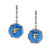 Silver Tone Blue Enamel Gold Tone Initial Earrings H
