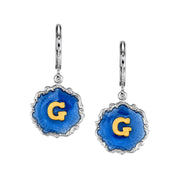 Silver Tone Blue Enamel Gold Tone Initial Earrings I