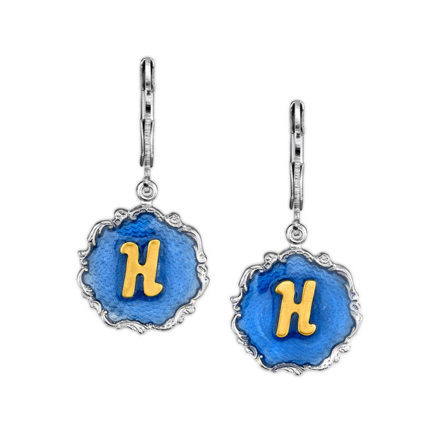 Silver Tone Blue Enamel Gold Tone Initial Earrings J