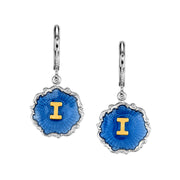 Silver Tone Blue Enamel Gold Tone Initial Earrings K