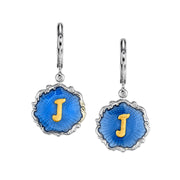 Silver Tone Blue Enamel Gold Tone Initial Earrings L