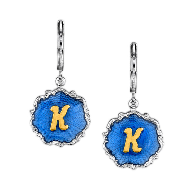 Silver Tone Blue Enamel Gold Tone Initial Earrings M
