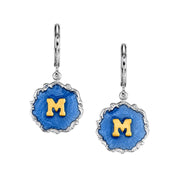 Silver Tone Blue Enamel Gold Tone Initial Earrings O