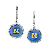 Silver Tone Blue Enamel Gold Tone Initial Earrings P
