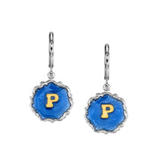 Silver Tone Blue Enamel Gold Tone Initial Earrings S