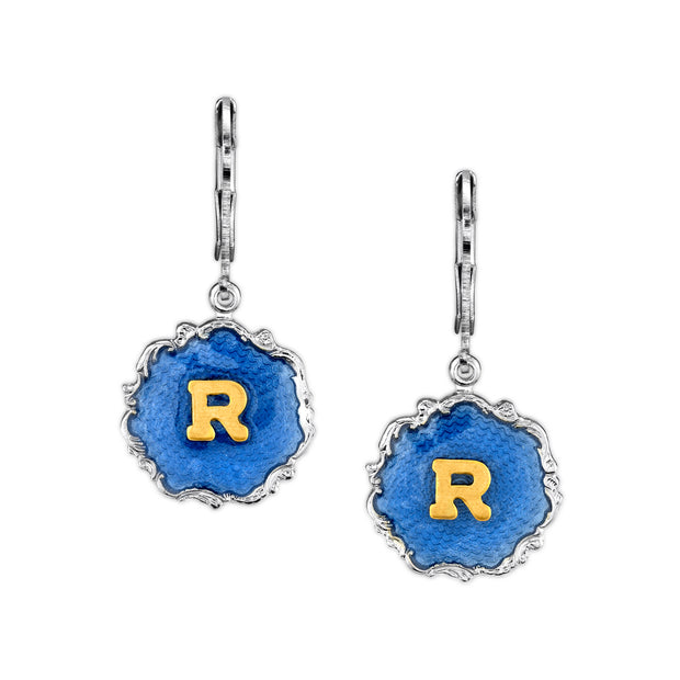 Silver Tone Blue Enamel Gold Tone Initial Earrings T