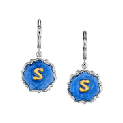 Silver Tone Blue Enamel Gold Tone Initial Earrings V